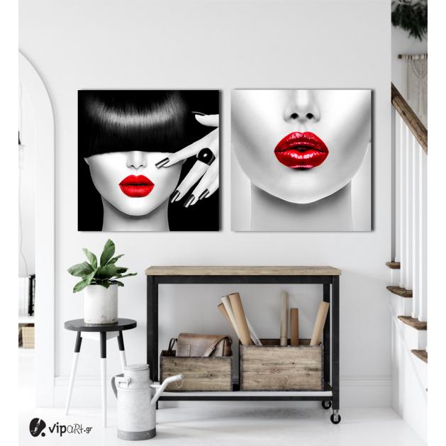 Σύνθεση Με Πίνακες Καμβάδες 60x60 - 2 Τεμάχια - Beauty Red Lips portrait