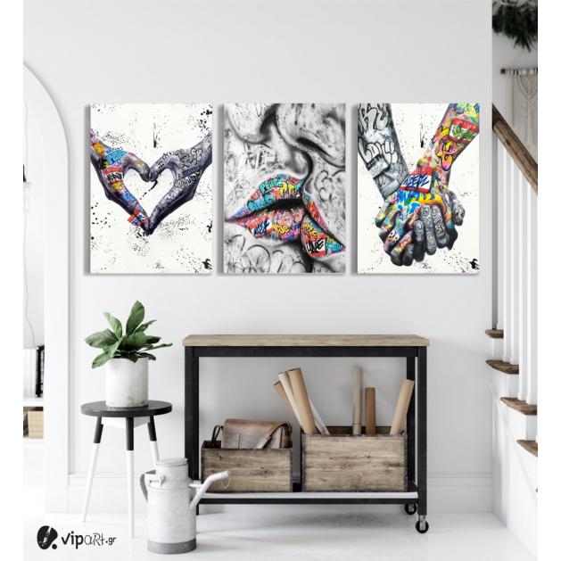 Σύνθεση Με Πίνακες Καμβάδες 70x50 - 3 Τεμάχια - Street Graffiti Art Heart Kiss Hand