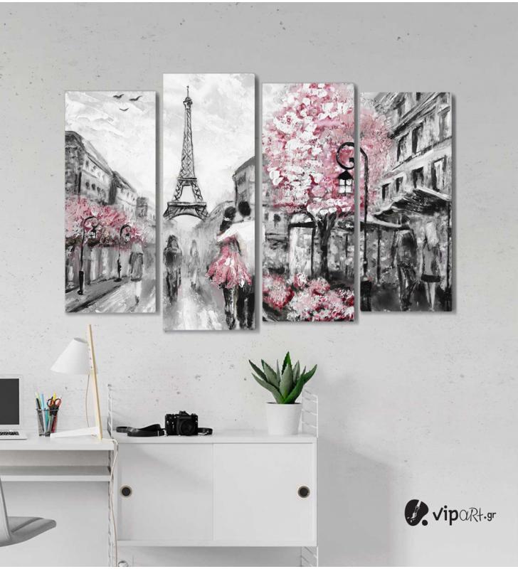 Πίνακας Καμβάς Τετράπτυχος Paris painting selective color