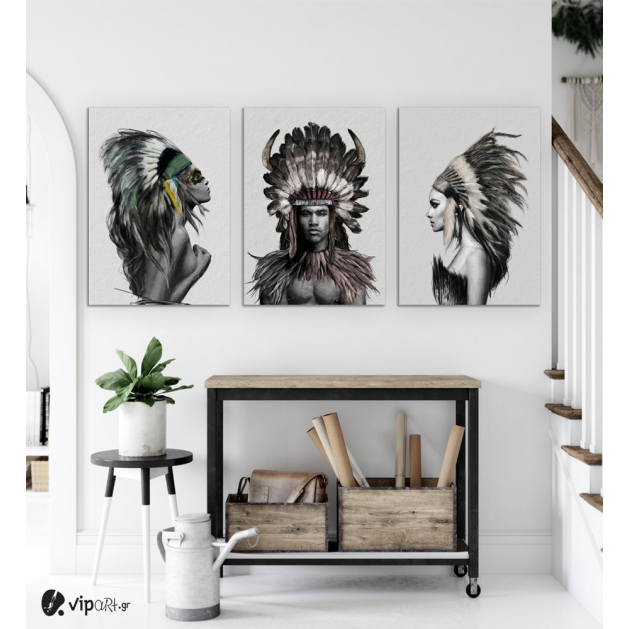 Σύνθεση Με Πίνακες Καμβάδες 70x50 - 3 Τεμάχια - Indians Woman And Man Nordic Style