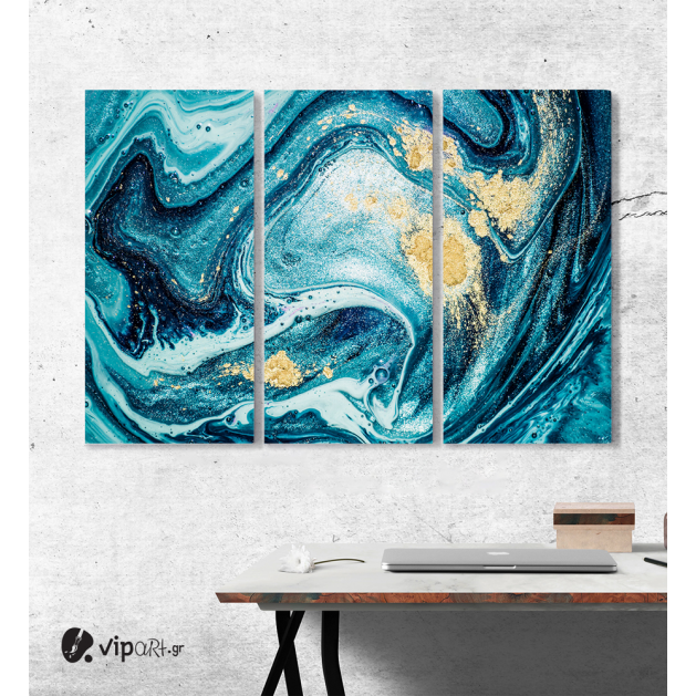 Μοντέρνος Τρίπτυχος Πίνακας Καμβάς Αφηρημένη τεχνική μελάνι αλκοόλ ζωγραφικής με Μπλέ - Λευκές - Χρυσές Αποχρώσεις