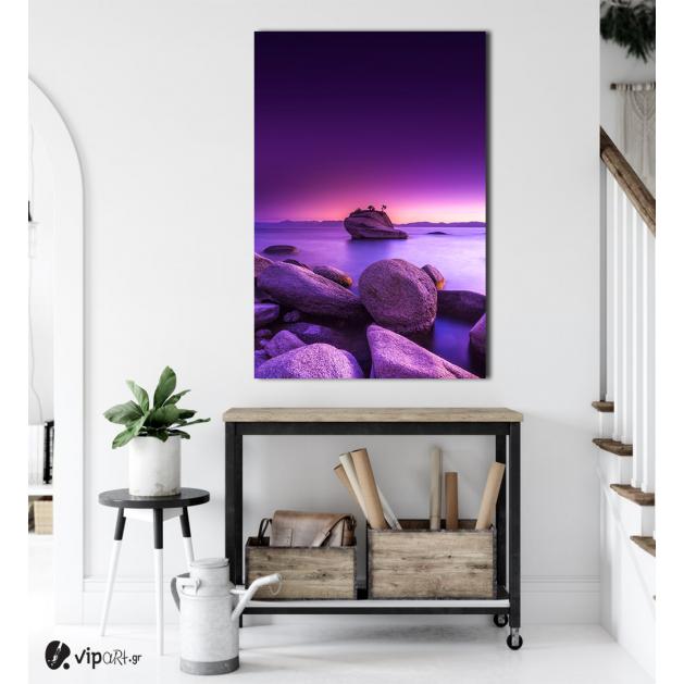 Πίνακας σε Καμβά : Pink Sky & Rocks