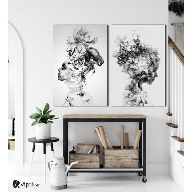 Σύνθεση με πίνακες Καμβάδες : Modern Smoking Women- 2 Τεμάχια 70x 50
