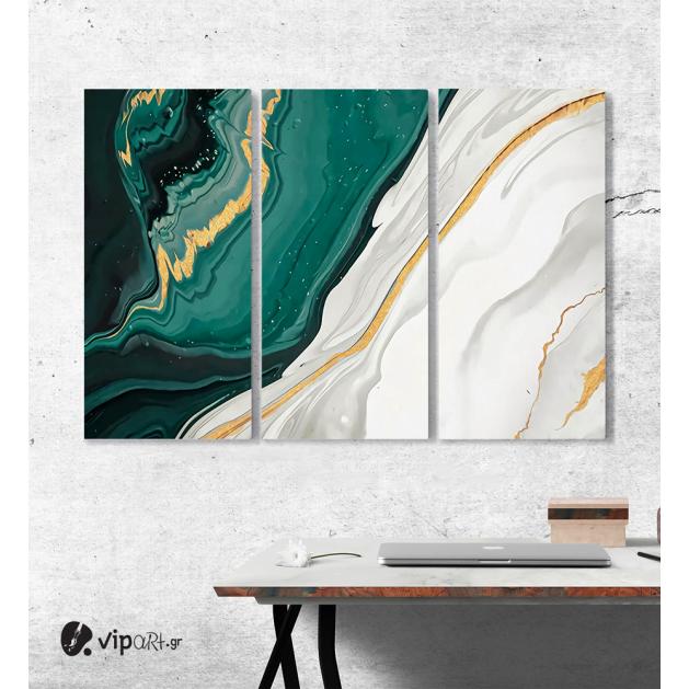 Μοντέρνος Τρίπτυχος Πίνακας Καμβάς Αφηρημένη τεχνική μελάνι αλκοόλ ζωγραφικής με Πράσινες - Λευκές - Χρυσές Αποχρώσεις